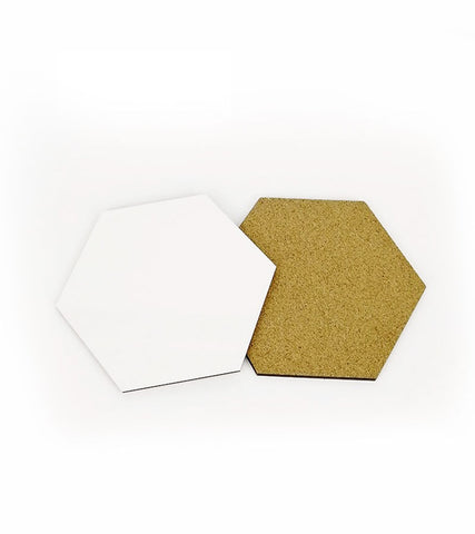 1 Pack (10 Pieces) - Sublimation Blank MDF Wood Hexagon Coasters with cork