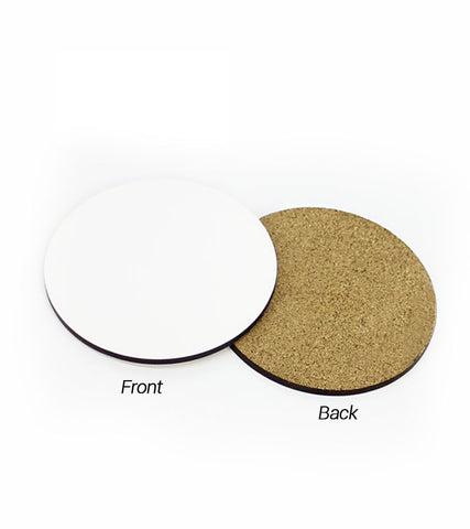 1 pack / 10 pieces - Sublimation Blank MDF Wood Round Coasters with cork