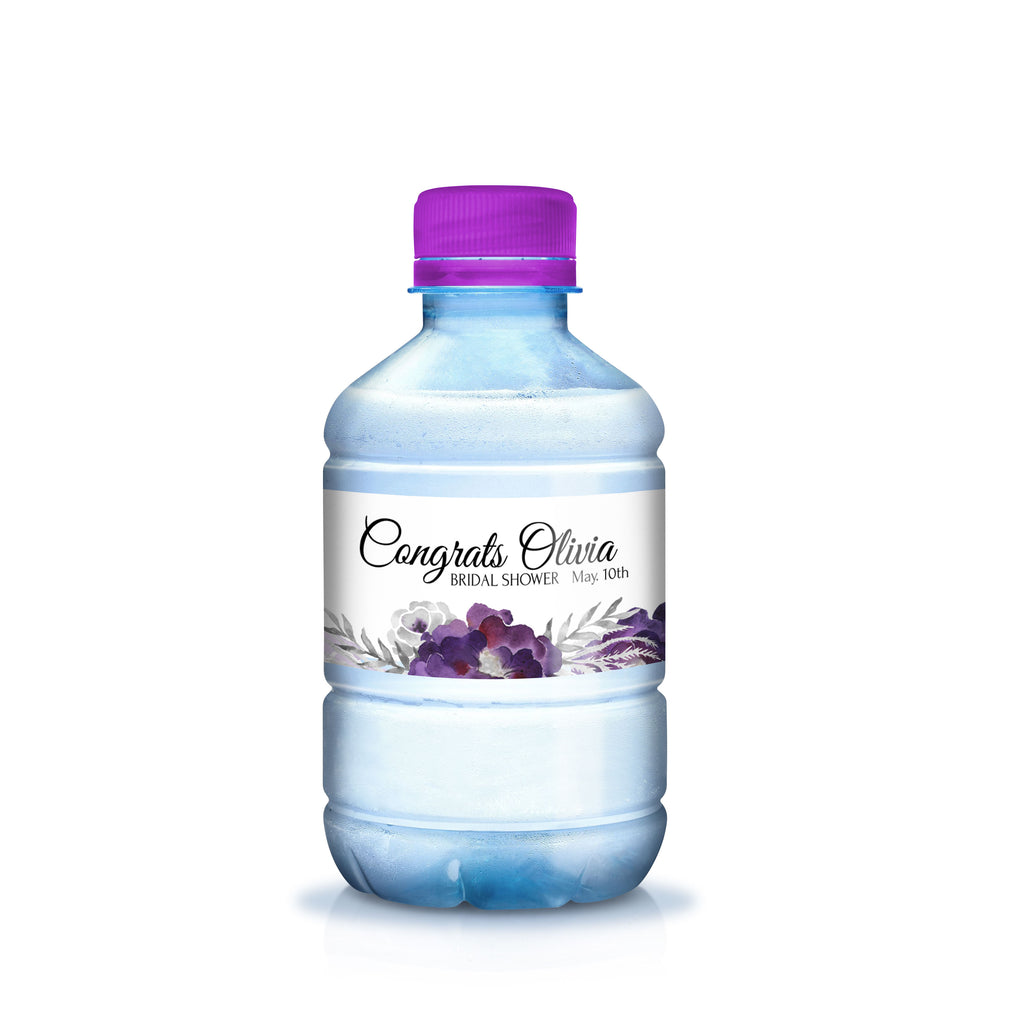 Free Purple Floral Water Bottle Label Printable