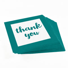 Teal Green Thank You stickers for party favors