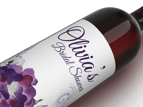 free purple floral wine labels