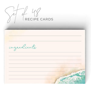 Beach Recipe Cards, Set of 48, 4x6 inches, Water Resistant - Recipe Card- dashleigh