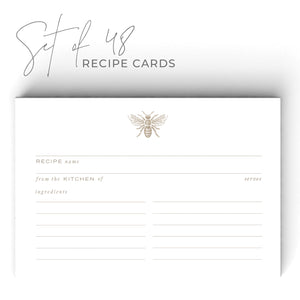 Gold Bee Recipe Cards, Water Resistant - Recipe Card- dashleigh