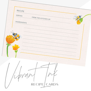 Bees & Honey Recipe Cards, Water Resistant - Recipe Card- dashleigh