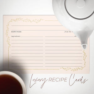 Blush Floral + Gold Foil Recipe Cards, Set of 50, 4x6 inches