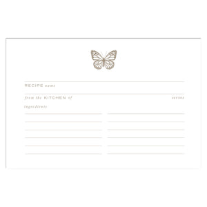 Gold Butterfly Recipe Cards, Water Resistant - Recipe Card- dashleigh