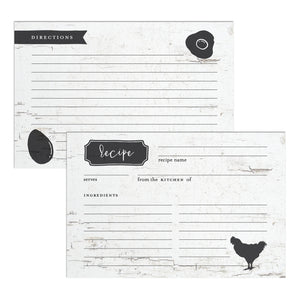 Rustic Farmhouse Chicken Recipe Cards, Water Resistant - Recipe Card- dashleigh