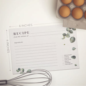 Eucalyptus Recipe Cards, Set of 48, 4x6 inches, Water Resistant - Recipe Card- dashleigh