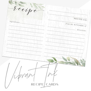 Farmhouse Recipe Cards, Set of 48, 4x6 inches, Water Resistant - Recipe Card- dashleigh