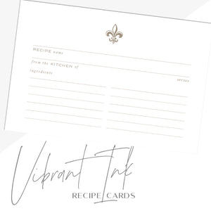 Gold Fleur de Lis Recipe Cards, Water Resistant - Recipe Card- dashleigh