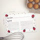 Ladybug Recipe Cards, Set of 48, 4x6 inches, Water Resistant - Recipe Card- dashleigh