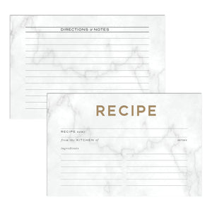 Marble & Gold Recipe Cards, Water Resistant - Recipe Card- dashleigh