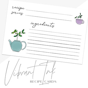 Modern Tea Recipe Cards, Set of 48, 4x6 inches, Water Resistant - Recipe Card- dashleigh