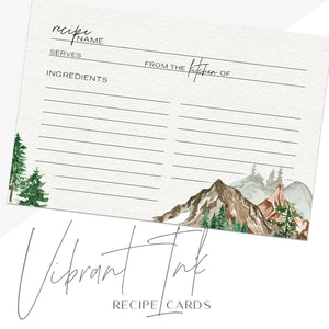 Mountain Recipe Cards, Set of 48, 4x6 inches, Water Resistant - Recipe Card- dashleigh