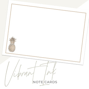 Gold Pineapple Notecards, 4 x 6 inches, Set of 48 - Stationery- dashleigh
