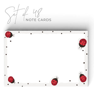 Ladybug Notecards, 4 x 6 inches, Set of 48 - Stationery- dashleigh