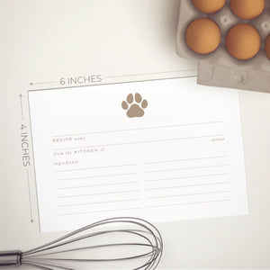 Gold Animal Paw Recipe Cards, Water Resistant - Recipe Card- dashleigh