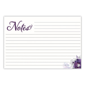 Purple Floral Recipe Cards, Set of 48, 4x6 inches, Water Resistant - Recipe Card- dashleigh