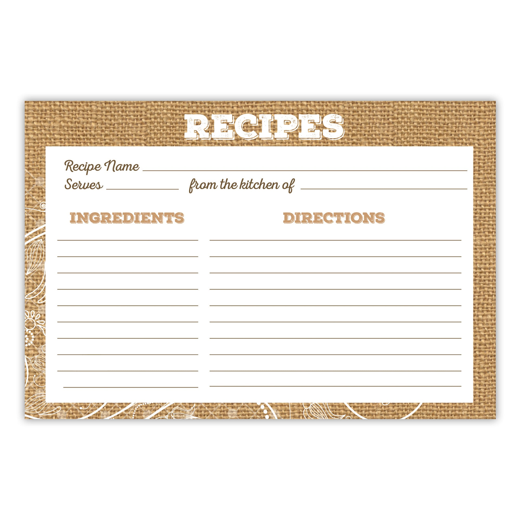 Lace and Burlap Recipe Cards, Water Resistant