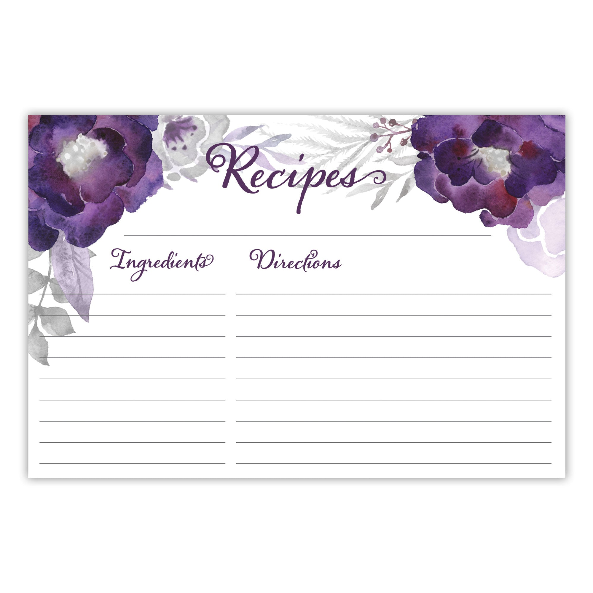 Purple Floral Recipe Cards, Set of 48, 4x6 inches, Water Resistant