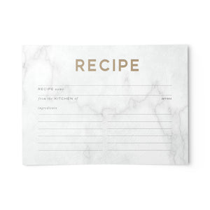 Marble & Gold Recipe Cards, Water Resistant