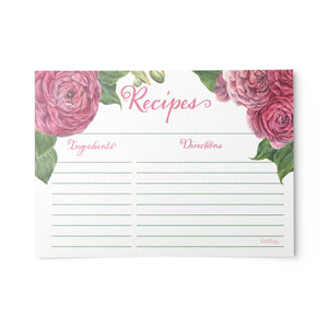Peony Pink Recipe Cards, Water Resistant
