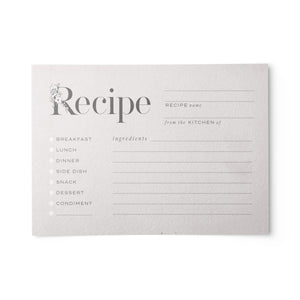 Rustic Recipe Cards, Set of 48, 4x6 inches, Water Resistant