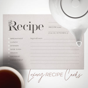 Rustic Recipe Cards, Set of 48, 4x6 inches, Water Resistant - Recipe Card- dashleigh