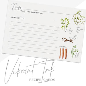 Herb Recipe Cards, Set of 48, 4x6 inches, Water Resistant - Recipe Card- dashleigh