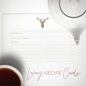 Gold Stag Recipe Cards, Water Resistant - Recipe Card- dashleigh
