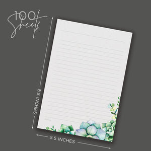 Succulents Notepad, Lined, 5.5 x 8.5 in - Notepads- dashleigh