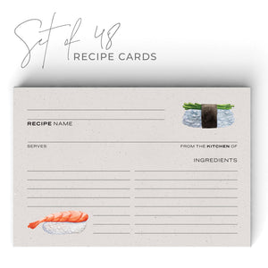 Sushi Recipe Cards, Water Resistant - Recipe Card- dashleigh