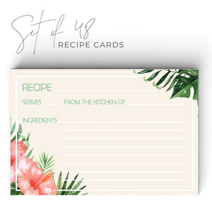 Tropical Recipe Cards, Set of 48, 4x6 inches, Water Resistant - Recipe Card- dashleigh