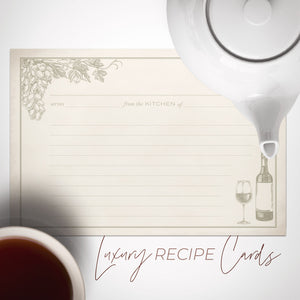 Wine & Vineyard Recipe Cards, Water Resistant - Recipe Card- dashleigh