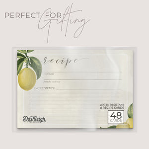 Vintage Lemon Recipe Cards, Set of 48, 4x6 inches, Water Resistant - Recipe Card- dashleigh