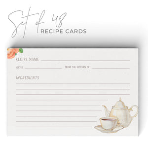 Vintage Tea Recipe Cards, Set of 48, 4x6 inches, Water Resistant - Recipe Card- dashleigh