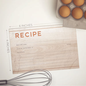 Wood & Copper Recipe Cards, Water Resistant - Recipe Card- dashleigh