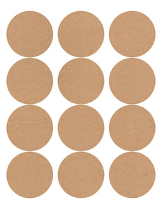 60 Circle Wide Mouth Jar Labels, 2.5 in., Kraft Brown - Labels- dashleigh