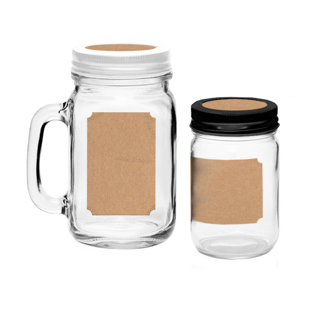 40 Printable Blank Mason Jar and Lid Labels, Kraft
