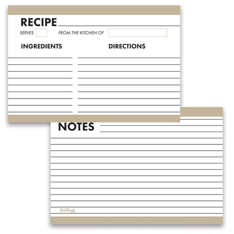 Modern Organizer Recipe Cards, Set of 48, 4x6 inches, Water Resistant and Double Sided - Recipe Card- dashleigh