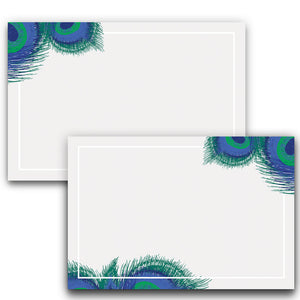 Peacock Feather Note Cards, 4 x 6 inches, Set of 50 - Stationery- dashleigh