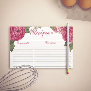 Peony Pink Recipe Cards, Water Resistant - Recipe Card- dashleigh