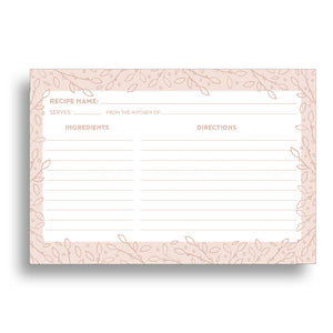 Blush Leaves Recipe Cards, Water Resistant - Recipe Card- dashleigh