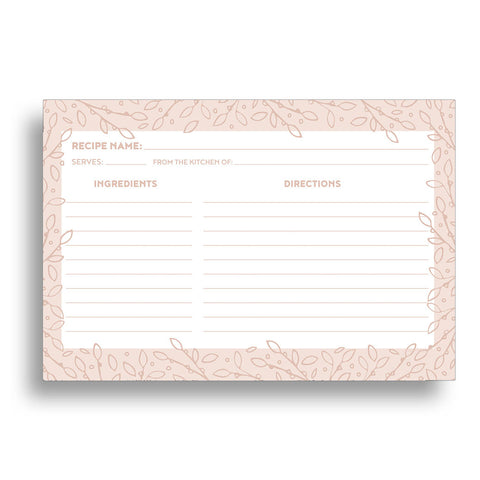 Water Resistant Blush Leaves Recipe Cards, Set of 48, 4x6 inches