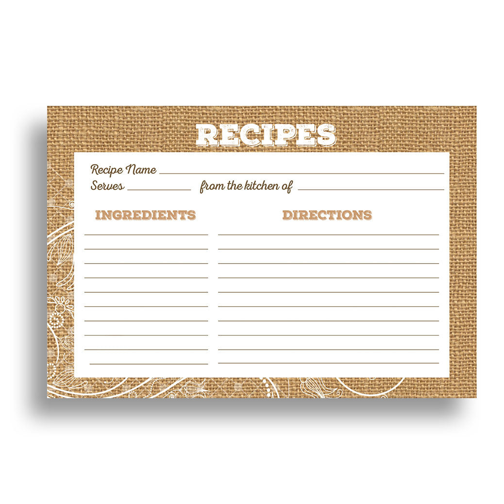 Water Resistant Lace and Burlap Recipe Cards, Set of 48, 4x6 inches - Recipe Card- dashleigh