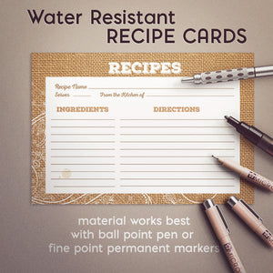 Lace and Burlap Recipe Cards, Water Resistant - Recipe Card- dashleigh