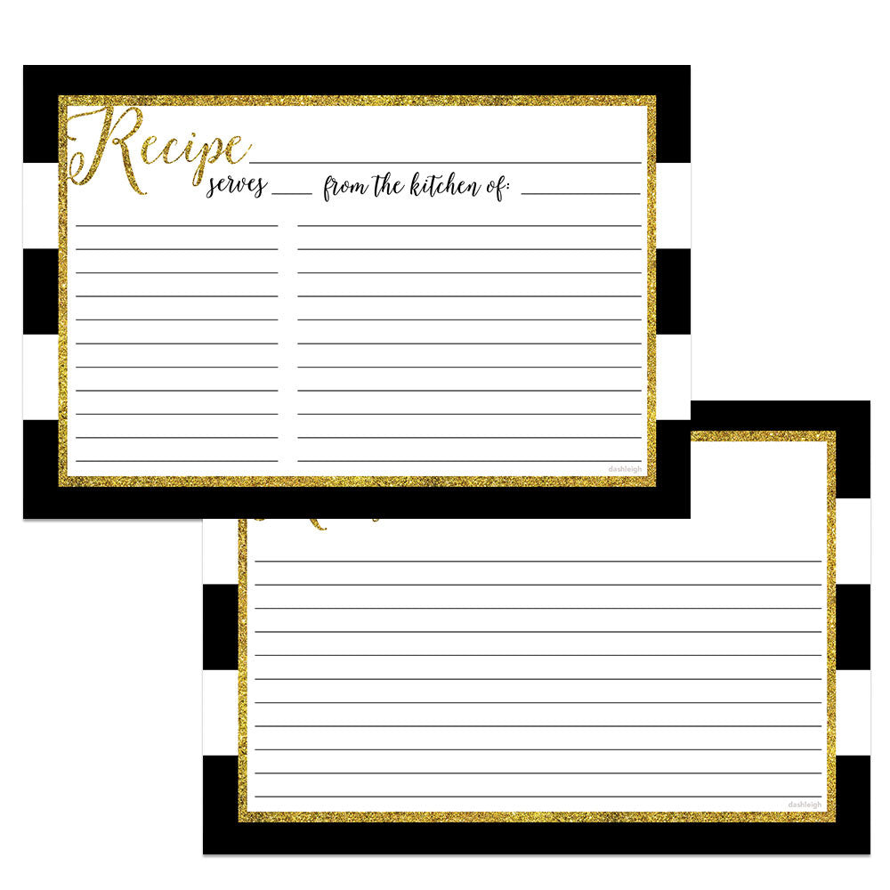 glitter gold recipe cards double sided set of 48 4x6 inches