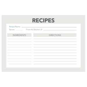 Grey and Navy Retro Recipe Cards, Water Resistant - Recipe Card- dashleigh