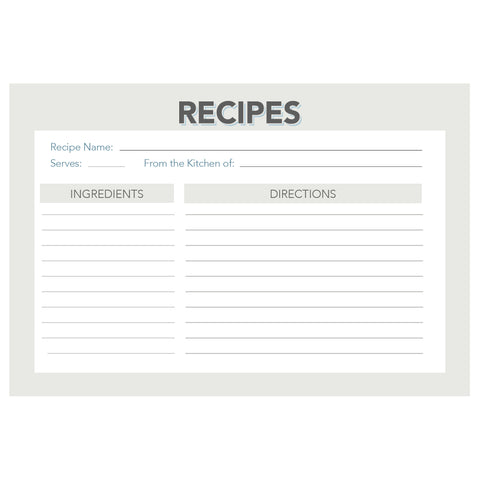 Water Resistant Retro and Vintage Recipe Cards, Set of 48, 4x6 inches, Grey and Navy - Recipe Card- dashleigh