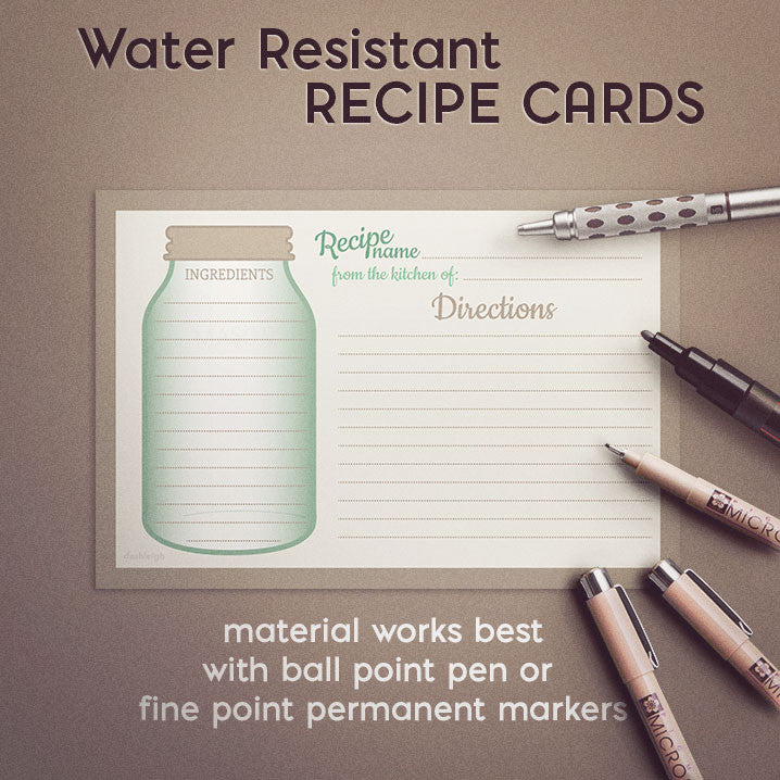 Mason Jar Recipe Cards, Set of 48, 4x6 inches, Water Resistant and Double Sided - Recipe Card- dashleigh
